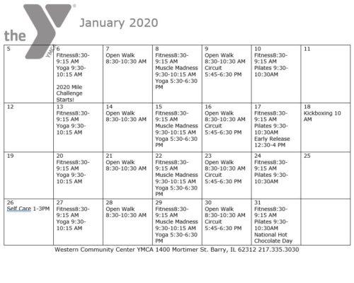 Jan. 2020 Schedule